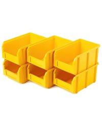 Пластиковый ящик Стелла-техник V-2-К6-желтый , 234х149х120мм, комплект 6 штук