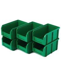 Пластиковый ящик Стелла-техник V-2-К6-зеленый , 234х149х120мм, комплект 6 штук