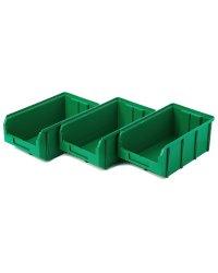 Пластиковый ящик Стелла-техник V-3-К3-зеленый , 342х207х143мм, комплект 3 штуки